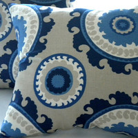 Navy Suzani Indigo Blue Cream Taupe pillow cover 18 x 18