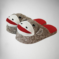 Sock Monkey Adult Slippers