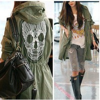 Military Lady Back Skull Oversized Anorak Parka Trench Hooded Khaki Jackets Coat