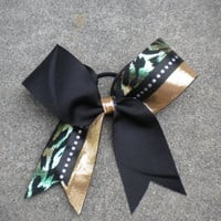 Cheetah and Gold Cheer Bow