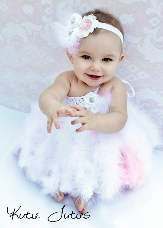 White and pink feather tutu dress from kutietuties on etsy