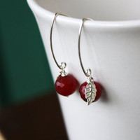 Genuine Ruby Earrings - Red Apple Earrings - AAA Faceted Ruby Earrings