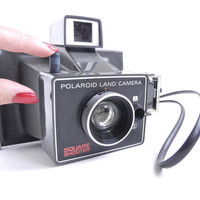 SALE - Vintage Polaroid Land Camera Square Shooter - 1970s Gray Camera with Instructions / 70s Photography