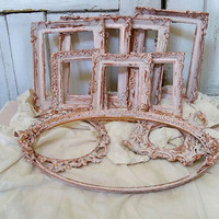 Vintage frame grouping set of ten shabby chic muted pink with copper accents hand painted distressed wall decor Anita Spero