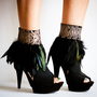 CRUELLA Black Feather Ankle Cuffs with Animal Print
