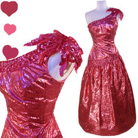 Dress Vintage 80s PINK LAME Glam Sequin PROM Party Dress S Mike Benet 1 Shoulder Gown Metallic
