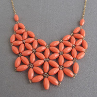 SALE flower statement necklace/bib necklace/statement necklace/beaded necklace/bubble necklace/beautiful/pretty/ORANGE