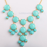Turquoise Blue Bubble Bib Necklace, Bubble Necklace, Bubble Jewelry (Fn0508-Turquoise Blue)