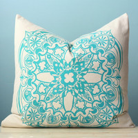 Turquoise Moroccan Linen Pillow Cover Decorative Cushion Throw 18x18 Screen Print Pillow Art Modern Global Inspired