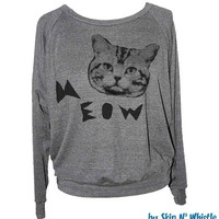 Womens CAT SWEATSHIRT -- american apparel S M L -- (5 Color Options) m1p