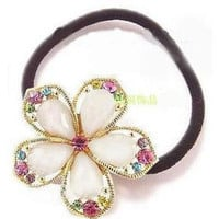 Sweet Rhinestone Flower Ponytail Holder Hair Band wholesale