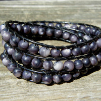 Beaded Leather 3 Wrap Bracelet with Slate Gray Jade Beads and Black Leather for Fall