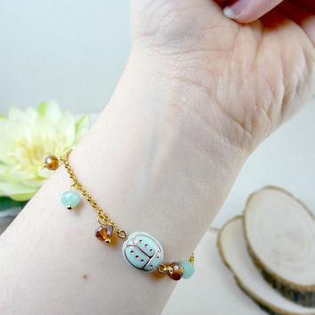 Tiny Mint Ladybug Bracelet, Nature Jewelry, Dainty Ladybug Jewelry, Golden Bracelet, Everyday Jewelry, Delicate Bracelet, Woodland Jewelry