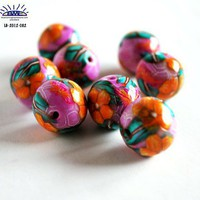 Handmade Polymer Clay Beads Pink Orange Flowers Teal Leaves
