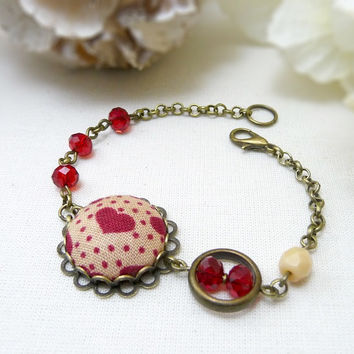Red Heart Bracelet, Red Chain Bracelet, Red Bracelet, Textile Jewelry, Red Heart Fabric, Red Polka Dots Fabric, Romantic Jewelry