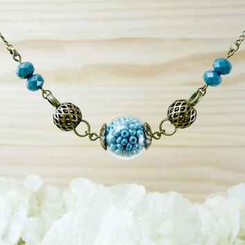 Blue Glass Ball Necklace, Blue Bead Necklace, Blue Jewelry Hollow Glass Ball Blue Necklace, Glass Necklace