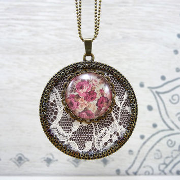 White Lace Necklace, Textile Jewelry, Pink Necklace Ivory Lace Pendant Necklace, Glass Photo Pendant Rustic Lace Jewelry, Statement Necklace