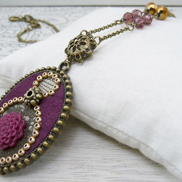 Aubergine Necklace, Olive Green Lace Necklace, Purple Fabric Pendant, Resin Flower Necklace, Textile Jewelry, Umber Red Resin Flower Pendant