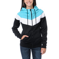 Empyre Girl Insignia Black &amp; Teal Full Zip Tech Fleece