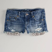 AE Sequin Pocket Denim Shortie | American Eagle Outfitters
