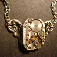 Steampunk Neo Victorian Vintage Watch Movement Necklace on Ornate Setting (591)