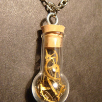 Steampunk Necklace- Gears and Watch Parts in a Glassbulb Vial (592)