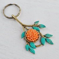 Orange Flower Dangle Key Ring.Antique Brass Keychain,Flower Keychain,Bag Charm,Leaf Branch Key Chain,Orange Peach Flower Keyring accessory