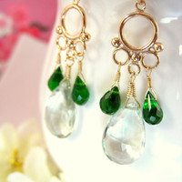 Green amethyst emerald green quartz gold filled bubble dangle earrings