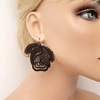 Roses lace earrings black