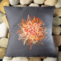 Orange Chrysanthemum pillow cover, Throw, Cushion, Jungalow, Gray, Floral