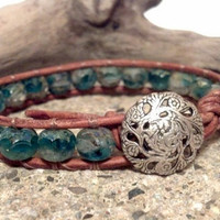 Sea Blue Picasso, Leather Wrap Bracelet, Shabby Boho Chic, Gypsy, Chan Luu Inspired