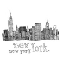 New York New York 5x5 Pen and Ink Print by virginiakraljevic