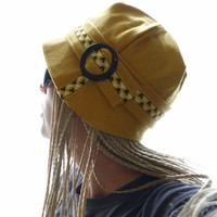 Cloche Hat  mustard yellow cashmere by moaningminnie on Etsy