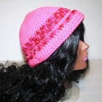 Hot Pink Variegated Stripe Crocheted Cap