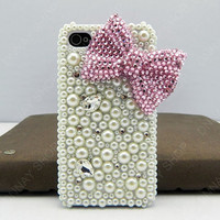 cases iphone 5 case iphone 4s case Bling bling bows  pink Pearl pink  bows case pink