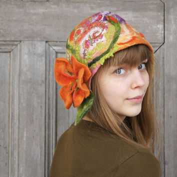 Unique felted cloche hat, retro style hat with nasturtium flower and green leaves. OOAK