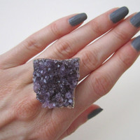 Raw Amethyst Cluster Ring. Amethyst Druzy Ring. Raw Amethyst Ring. Drusy Ring. Statement Ring. By Victory Jewelry.