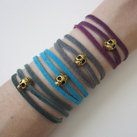 Skull. Leather. Wrap Bracelet. Suede. Sugar Skull. Gold Skull. Boho. Urban. Choose Your Color.