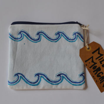 Hand painted hand made zip purse / zip pouch / coin purse / clutch / painted wave design