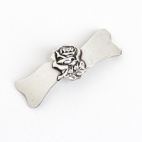Vintage Sterling Silver Rose Barrette Hair Clip - Mid-Century 1940s 1950s Hair Pin Accessory Jewelry