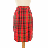 Vintage 60s Pencil Skirt Red Tartan Plaid Matching Belt Extra Small XS