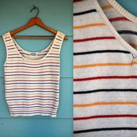 1970s. primary colors striped knit tank top. s-l