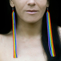 Extra Long Earrings. Beaded Very Long Fringe Rainbow Shoulder Dusters