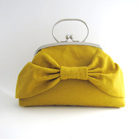 Frame Clutch Purse with handle- yellow linen bow bag
