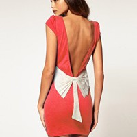 Paprika | Paprika Lace Bow Low Back Dress at ASOS