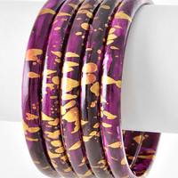 Paint Speckled Stacked Bangles in Plum and Gold