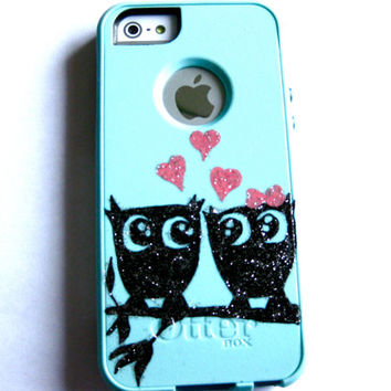 otterbox iphone 5s case, Iphone 5 case, Glitter case, Iphone cover, custom otterbox iphone 5, gift, Owl iphone 5 case