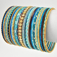 Boho Bangle Set in Turquoise and Gold