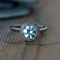 Blue Zircon Vintage Art Deco Gemstone Engagement Ring in 14k Palladium White Gold