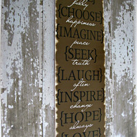 Life Rules- Love, Laugh, Live, Choose- Shabby Chic Typography Sign-Chocolate Brown